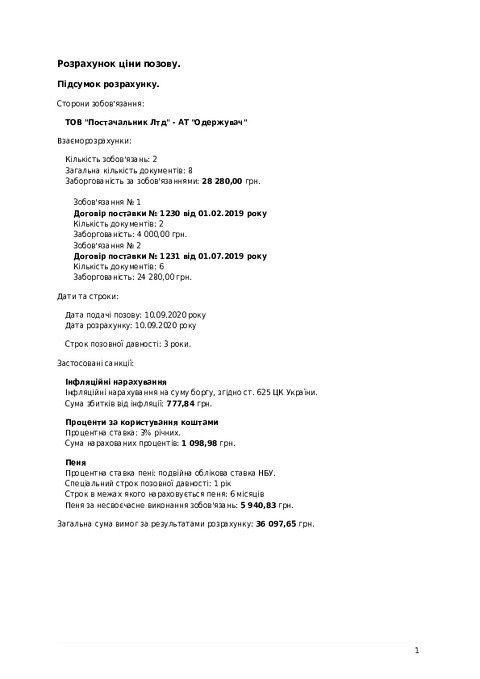 Підсумок розрахунку інфляції, процентів і пені (приклад) - Калькулятор санкцій КАСА